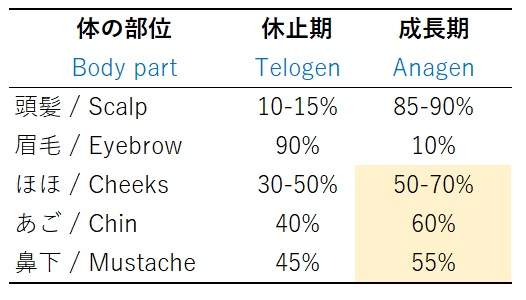 ヒゲの毛周期 成長期と休止期の割合